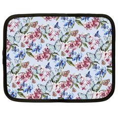 Watercolor Flowers Butterflies Pattern Blue Red Netbook Case (xxl)  by EDDArt