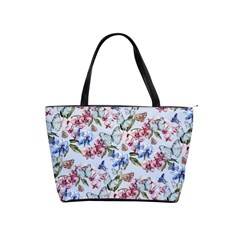 Watercolor Flowers Butterflies Pattern Blue Red Shoulder Handbags by EDDArt