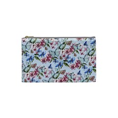 Watercolor Flowers Butterflies Pattern Blue Red Cosmetic Bag (small)  by EDDArt