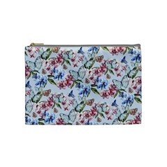 Watercolor Flowers Butterflies Pattern Blue Red Cosmetic Bag (medium)  by EDDArt