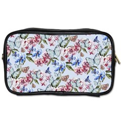 Watercolor Flowers Butterflies Pattern Blue Red Toiletries Bags 2 Side by EDDArt