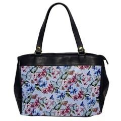 Watercolor Flowers Butterflies Pattern Blue Red Office Handbags by EDDArt