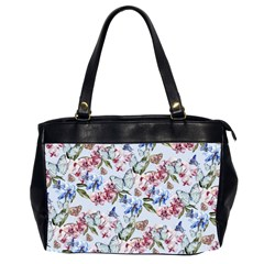 Watercolor Flowers Butterflies Pattern Blue Red Office Handbags (2 Sides)  by EDDArt