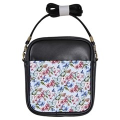 Watercolor Flowers Butterflies Pattern Blue Red Girls Sling Bags by EDDArt