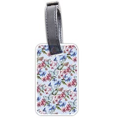 Watercolor Flowers Butterflies Pattern Blue Red Luggage Tags (one Side)  by EDDArt
