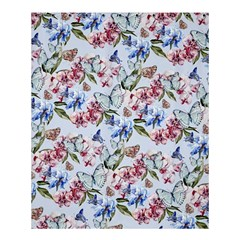 Watercolor Flowers Butterflies Pattern Blue Red Shower Curtain 60  X 72  (medium)  by EDDArt