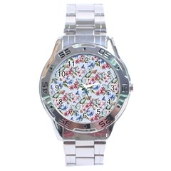 Watercolor Flowers Butterflies Pattern Blue Red Stainless Steel Analogue Watch by EDDArt