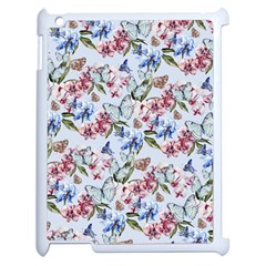 Watercolor Flowers Butterflies Pattern Blue Red Apple Ipad 2 Case (white) by EDDArt