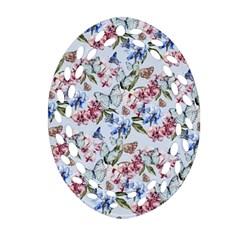 Watercolor Flowers Butterflies Pattern Blue Red Ornament (oval Filigree) by EDDArt