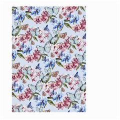 Watercolor Flowers Butterflies Pattern Blue Red Large Garden Flag (two Sides) by EDDArt