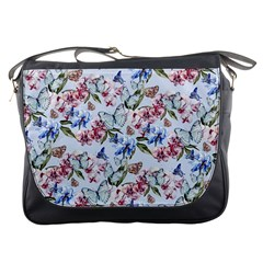 Watercolor Flowers Butterflies Pattern Blue Red Messenger Bags by EDDArt