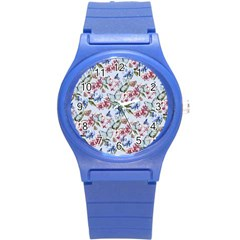 Watercolor Flowers Butterflies Pattern Blue Red Round Plastic Sport Watch (s) by EDDArt
