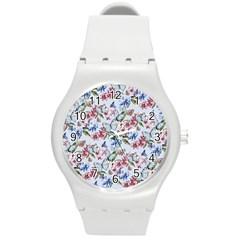 Watercolor Flowers Butterflies Pattern Blue Red Round Plastic Sport Watch (m) by EDDArt
