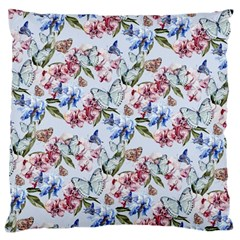 Watercolor Flowers Butterflies Pattern Blue Red Large Cushion Case (one Side) by EDDArt