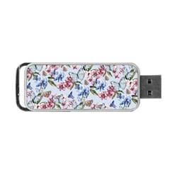 Watercolor Flowers Butterflies Pattern Blue Red Portable Usb Flash (two Sides) by EDDArt