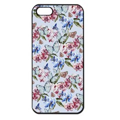 Watercolor Flowers Butterflies Pattern Blue Red Apple Iphone 5 Seamless Case (black) by EDDArt