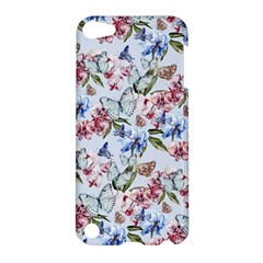 Watercolor Flowers Butterflies Pattern Blue Red Apple Ipod Touch 5 Hardshell Case by EDDArt
