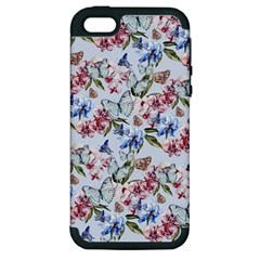 Watercolor Flowers Butterflies Pattern Blue Red Apple Iphone 5 Hardshell Case (pc+silicone) by EDDArt
