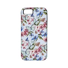 Watercolor Flowers Butterflies Pattern Blue Red Apple Iphone 5 Classic Hardshell Case (pc+silicone) by EDDArt