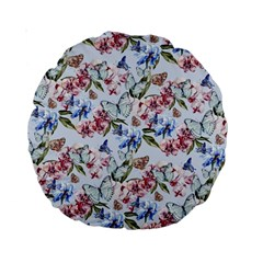 Watercolor Flowers Butterflies Pattern Blue Red Standard 15  Premium Round Cushions by EDDArt