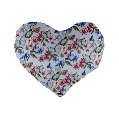 Watercolor Flowers Butterflies Pattern Blue Red Standard 16  Premium Heart Shape Cushions by EDDArt