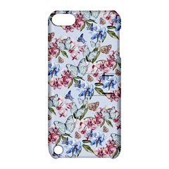 Watercolor Flowers Butterflies Pattern Blue Red Apple Ipod Touch 5 Hardshell Case With Stand by EDDArt