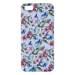 Watercolor Flowers Butterflies Pattern Blue Red Apple Iphone 5 Premium Hardshell Case by EDDArt