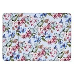 Watercolor Flowers Butterflies Pattern Blue Red Samsung Galaxy Tab 8 9  P7300 Flip Case by EDDArt