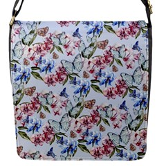 Watercolor Flowers Butterflies Pattern Blue Red Flap Messenger Bag (s) by EDDArt