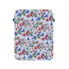 Watercolor Flowers Butterflies Pattern Blue Red Apple Ipad 2/3/4 Protective Soft Cases by EDDArt