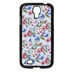 Watercolor Flowers Butterflies Pattern Blue Red Samsung Galaxy S4 I9500/ I9505 Case (black) by EDDArt