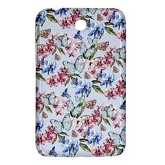 Watercolor Flowers Butterflies Pattern Blue Red Samsung Galaxy Tab 3 (7 ) P3200 Hardshell Case  by EDDArt