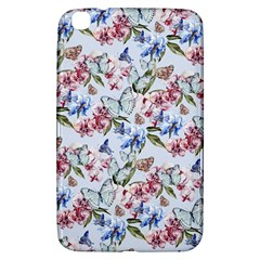 Watercolor Flowers Butterflies Pattern Blue Red Samsung Galaxy Tab 3 (8 ) T3100 Hardshell Case  by EDDArt
