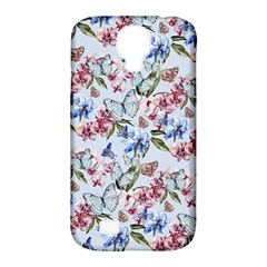 Watercolor Flowers Butterflies Pattern Blue Red Samsung Galaxy S4 Classic Hardshell Case (pc+silicone) by EDDArt