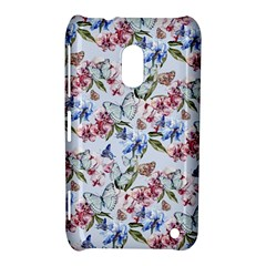 Watercolor Flowers Butterflies Pattern Blue Red Nokia Lumia 620 by EDDArt