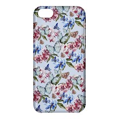 Watercolor Flowers Butterflies Pattern Blue Red Apple Iphone 5c Hardshell Case by EDDArt