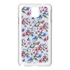 Watercolor Flowers Butterflies Pattern Blue Red Samsung Galaxy Note 3 N9005 Case (white) by EDDArt