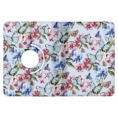 Watercolor Flowers Butterflies Pattern Blue Red Kindle Fire Hdx Flip 360 Case by EDDArt