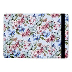 Watercolor Flowers Butterflies Pattern Blue Red Samsung Galaxy Tab Pro 10 1  Flip Case by EDDArt