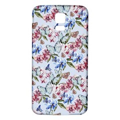 Watercolor Flowers Butterflies Pattern Blue Red Samsung Galaxy S5 Back Case (white) by EDDArt