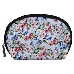 Watercolor Flowers Butterflies Pattern Blue Red Accessory Pouches (large)  by EDDArt