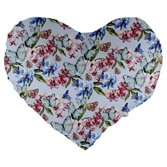 Watercolor Flowers Butterflies Pattern Blue Red Large 19  Premium Flano Heart Shape Cushions by EDDArt