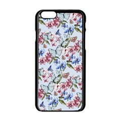 Watercolor Flowers Butterflies Pattern Blue Red Apple Iphone 6/6s Black Enamel Case by EDDArt