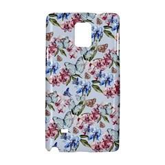 Watercolor Flowers Butterflies Pattern Blue Red Samsung Galaxy Note 4 Hardshell Case by EDDArt