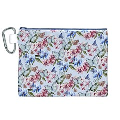 Watercolor Flowers Butterflies Pattern Blue Red Canvas Cosmetic Bag (xl) by EDDArt