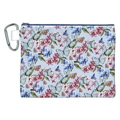 Watercolor Flowers Butterflies Pattern Blue Red Canvas Cosmetic Bag (xxl) by EDDArt