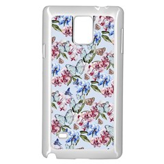 Watercolor Flowers Butterflies Pattern Blue Red Samsung Galaxy Note 4 Case (white) by EDDArt