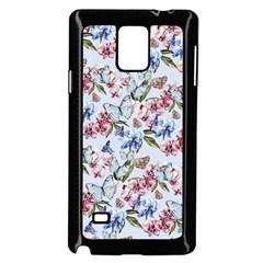Watercolor Flowers Butterflies Pattern Blue Red Samsung Galaxy Note 4 Case (black) by EDDArt