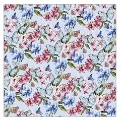 Watercolor Flowers Butterflies Pattern Blue Red Large Satin Scarf (square) by EDDArt