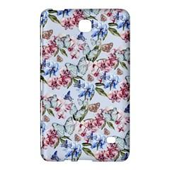 Watercolor Flowers Butterflies Pattern Blue Red Samsung Galaxy Tab 4 (7 ) Hardshell Case  by EDDArt